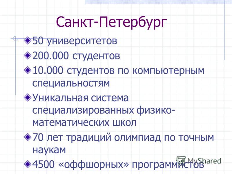 Санкт-Петербург 50 университетов 200.000 студентов 10.000 студентов по компьютерным специальностям Уникальная система специализированных физико- математических школ 70 лет традиций олимпиад по точным наукам 4500 «оффшорных» программистов