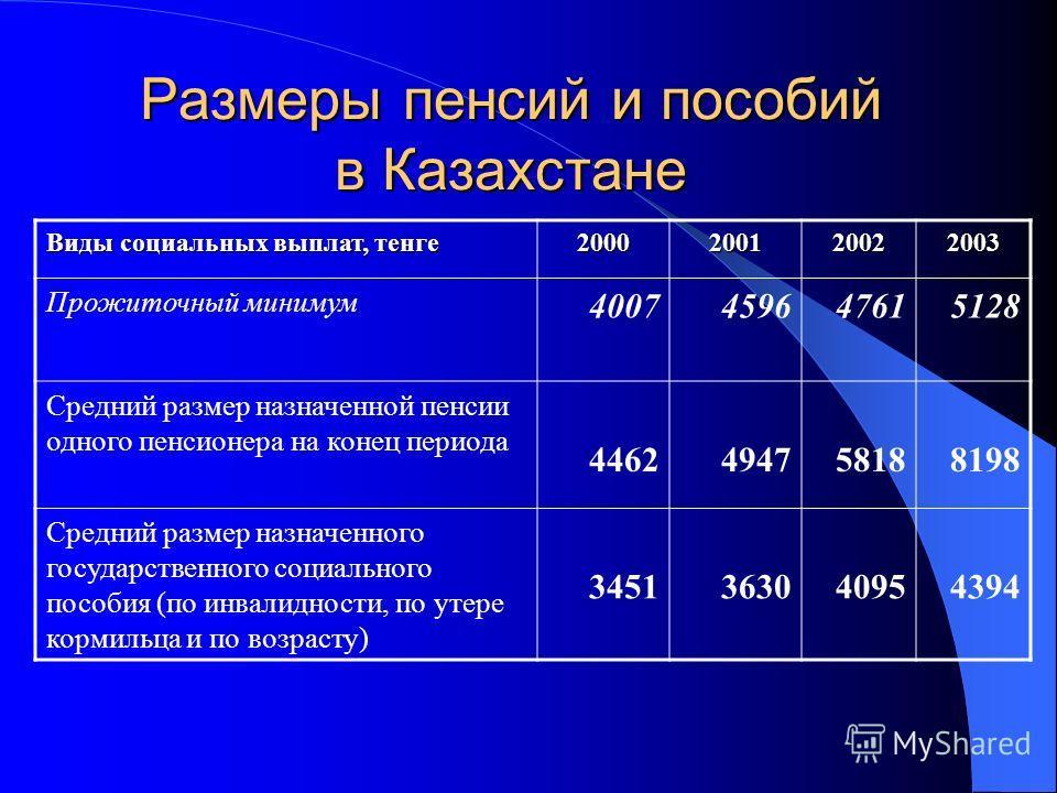 Размеры пенсий и пособий в Казахстане Виды социальных выплат, тенге 2000200120022003 Прожиточный минимум 4007459647615128 Средний размер назначенной пенсии одного пенсионера на конец периода 4462494758188198 Средний размер назначенного государственно