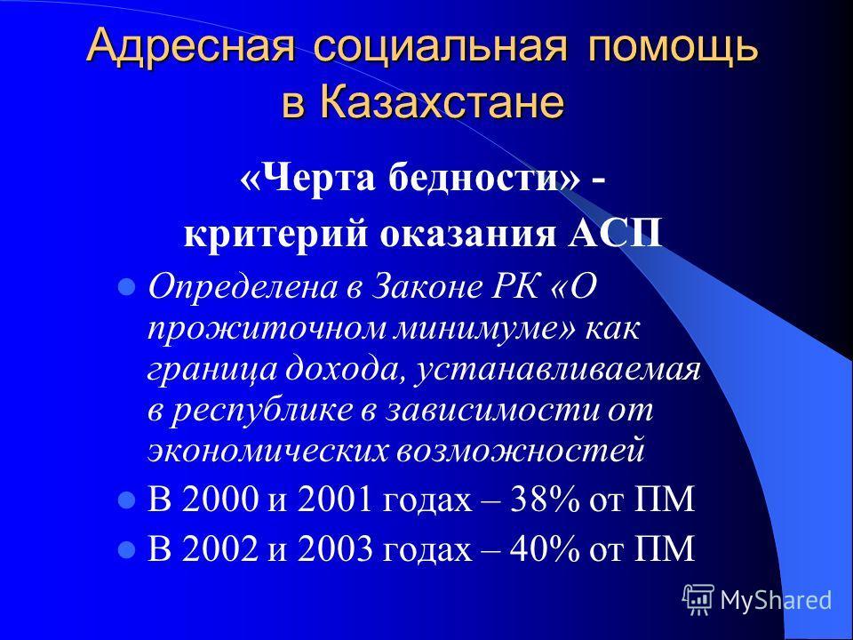 Адресная социальная помощь в Казахстане «Черта бедности» - критерий оказания АСП Определена в Законе РК «О прожиточном минимуме» как граница дохода, устанавливаемая в республике в зависимости от экономических возможностей В 2000 и 2001 годах – 38% от