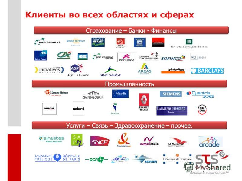 Промышленность Страхование – Банки - Финансы AGF La Lilloise Услуги – Связь – Здравоохранение – прочее. Клиенты во всех областях и сферах