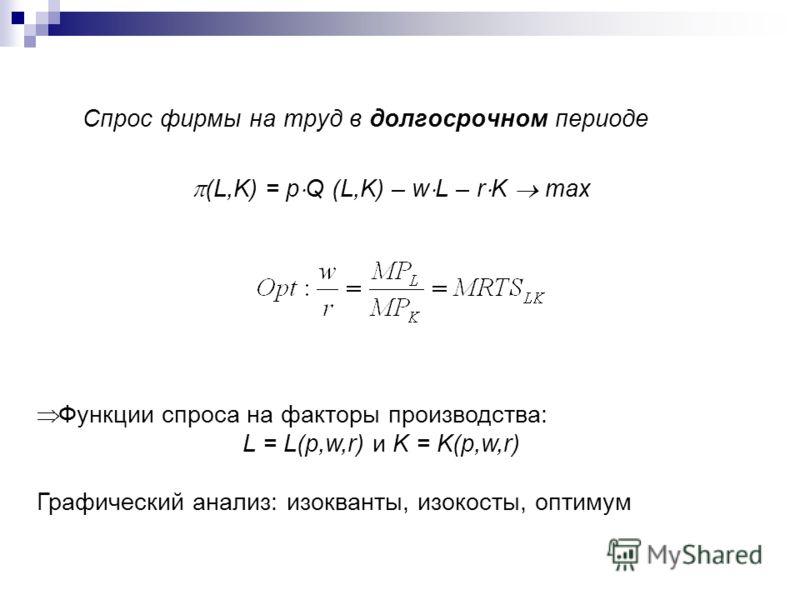Спрос фирмы на труд в долгосрочном периоде (L,K) = p Q (L,K) – w L – r K max Функции спроса на факторы производства: L = L(p,w,r) и K = K(p,w,r) Графический анализ: изокванты, изокосты, оптимум