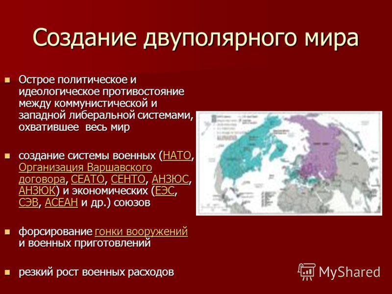 Создание двуполярного мира Острое политическое и идеологическое противостояние между коммунистической и западной либеральной системами, охватившее весь мир Острое политическое и идеологическое противостояние между коммунистической и западной либераль