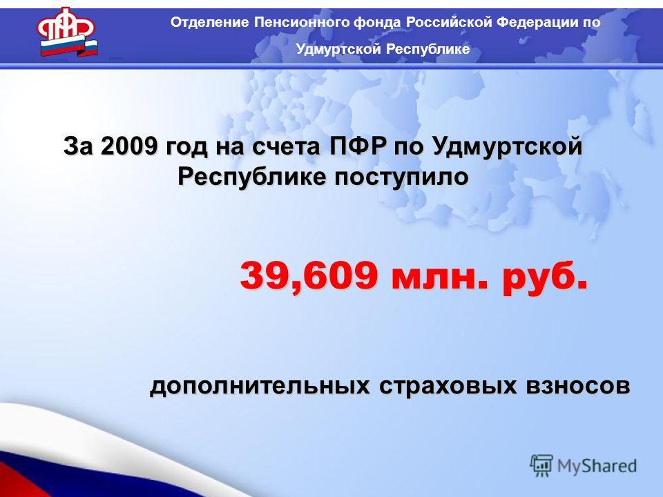 За 2009 год на счета ПФР по Удмуртской Республике поступило дополнительных страховых взносов Отделение Пенсионного фонда Российской Федерации по Удмуртской Республике 39,609 млн. руб.