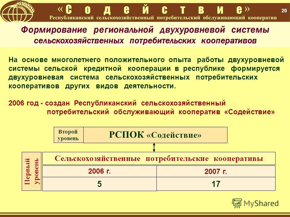 20 РСПОК «Содействие» Второй уровень Сельскохозяйственные потребительские кооперативы 2006 г. На основе многолетнего положительного опыта работы двухуровневой системы сельской кредитной кооперации в республике формируется двухуровневая система сельск