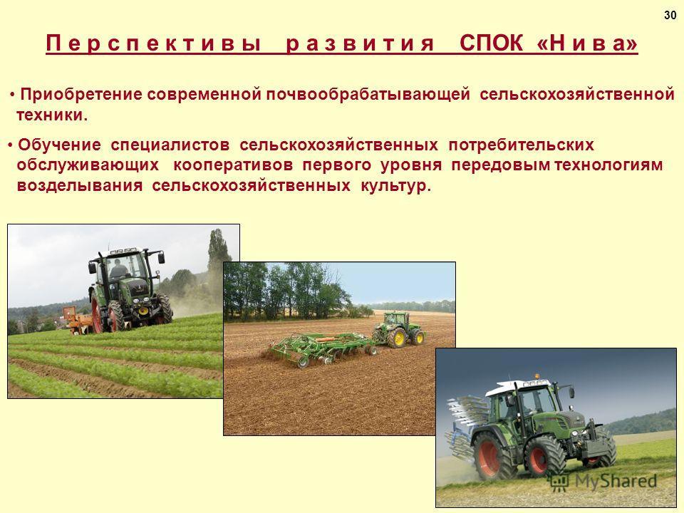 П е р с п е к т и в ы р а з в и т и я СПОК «Н и в а» Приобретение современной почвообрабатывающей сельскохозяйственной техники. Обучение специалистов сельскохозяйственных потребительских обслуживающих кооперативов первого уровня передовым технологиям