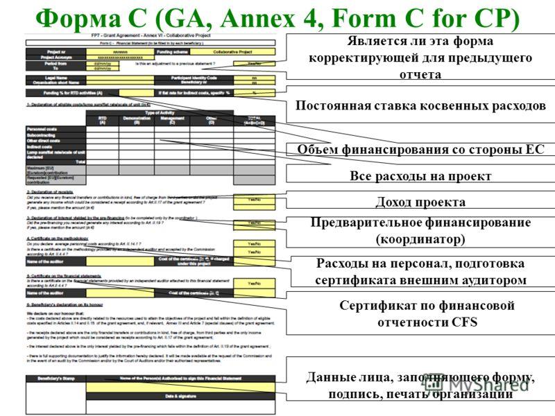 Форма С (GA, Annex 4, Form C for CP) Доход проекта Постоянная ставка косвенных расходов Объем финансирования со стороны ЕС Все расходы на проект Является ли эта форма корректирующей для предыдущего отчета Предварительное финансирование (координатор)