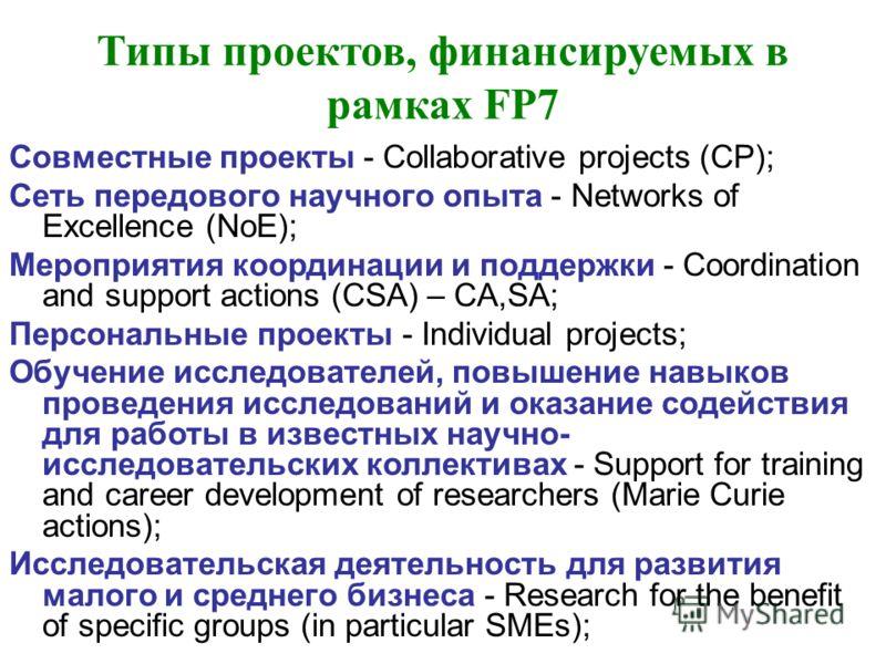 Типы проектов, финансируемых в рамках FP7 Совместные проекты - Collaborative projects (СP); Сеть передового научного опыта - Networks of Excellence (NoE); Мероприятия координации и поддержки - Coordination and support actions (CSA) – CA,SA; Персональ