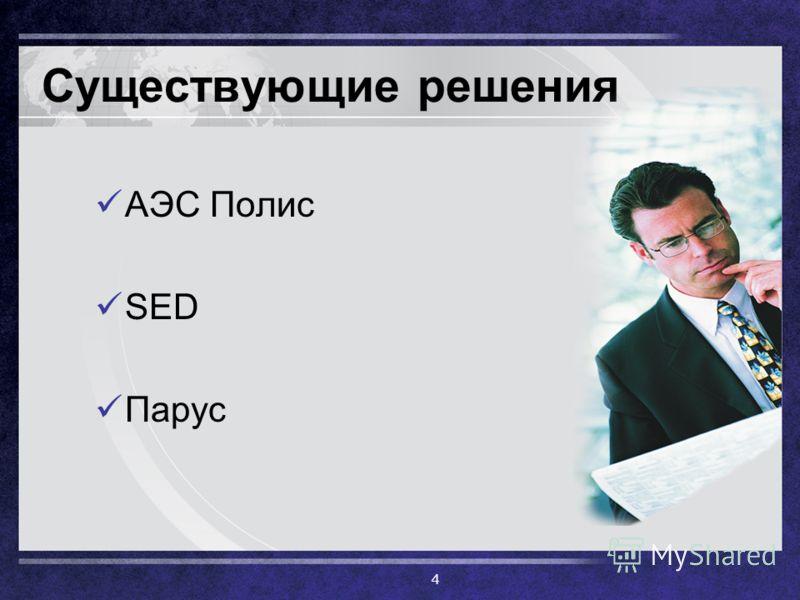 Существующие решения АЭС Полис SED Парус 4