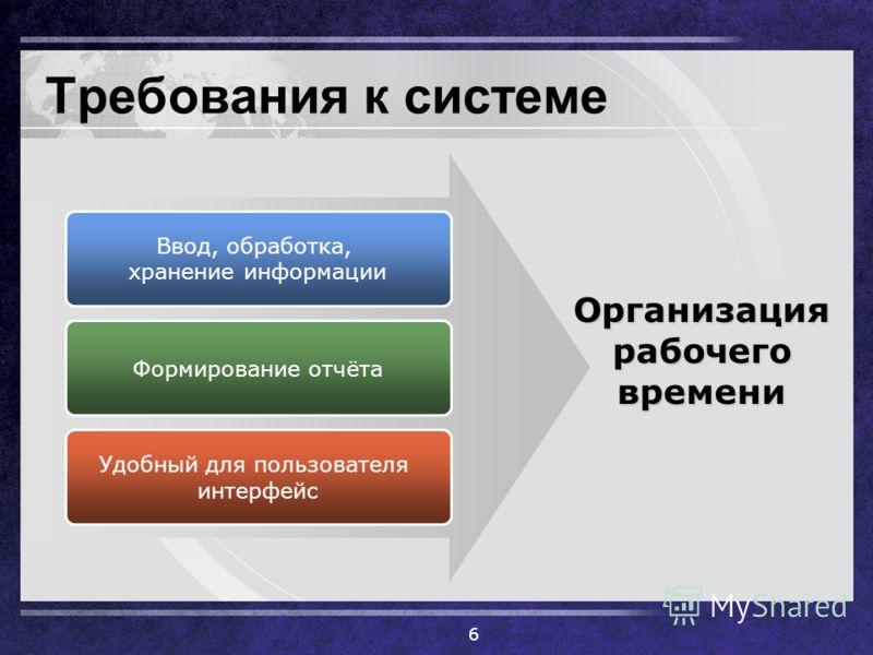 Требования к системе 6 Ввод, обработка, хранение информации Формирование отчёта Удобный для пользователя интерфейс Организация рабочего времени