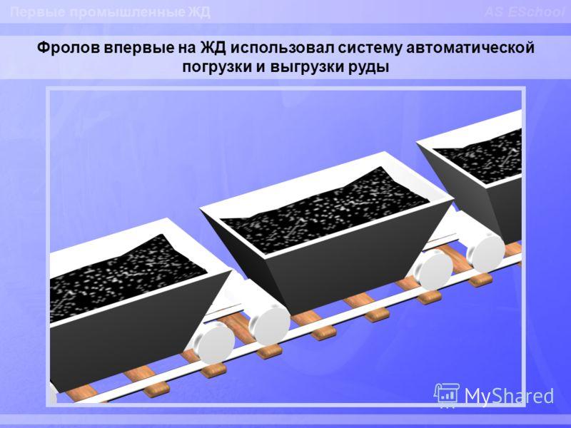 AS ESchool Фролов впервые на ЖД использовал систему автоматической погрузки и выгрузки руды Первые промышленные ЖД