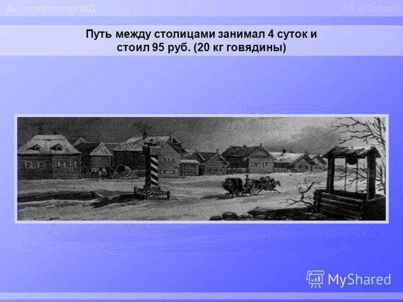 AS ESchool Путь между столицами занимал 4 суток и стоил 95 руб. (20 кг говядины) До появления ЖД
