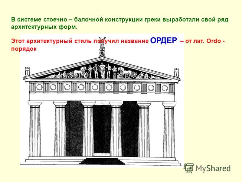 В системе стоечно – балочной конструкции греки выработали свой ряд архитектурных форм. Этот архитектурный стиль получил название ОРДЕР – от лат. Ordo - порядок