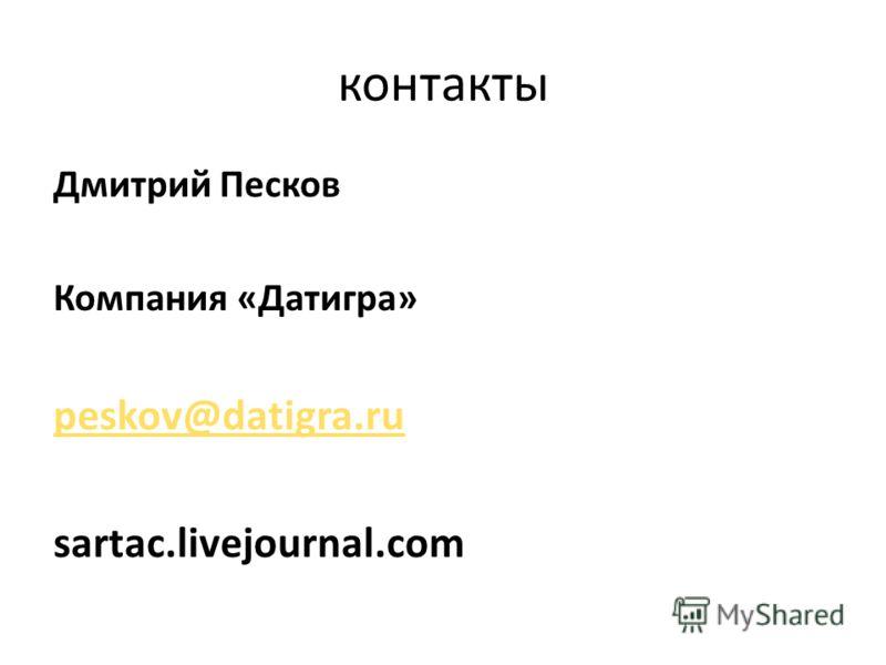 контакты Дмитрий Песков Компания «Датигра» peskov@datigra.ru sartac.livejournal.com