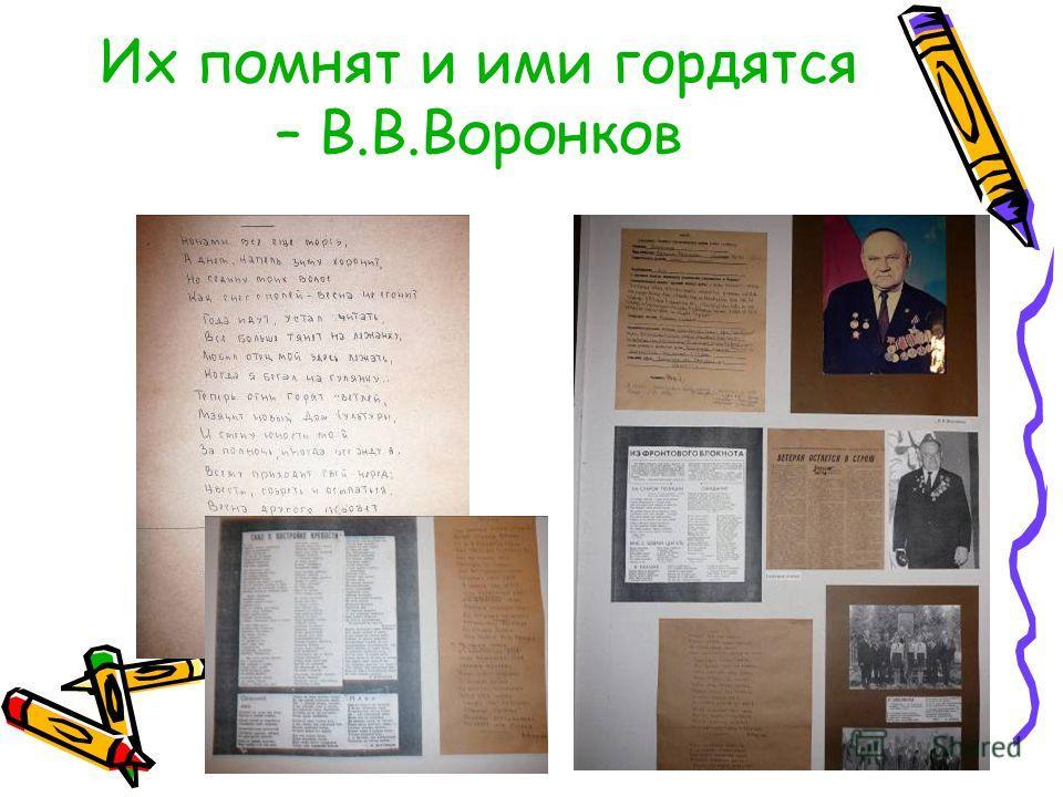 Их помнят и ими гордятся – В.В.Воронков