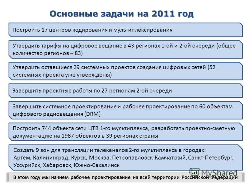 11 Основные задачи на 2011 год В этом году мы начнем рабочее проектирование на всей территории Российской Федерации Построить 17 центров кодирования и мультиплексирования Утвердить тарифы на цифровое вещание в 43 регионах 1-ой и 2-ой очереди (общее к