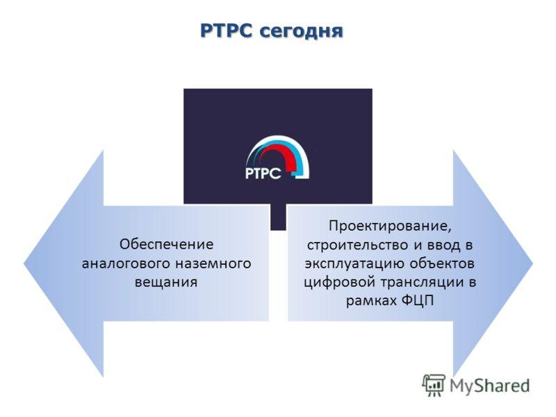 2 РТРС сегодня Обеспечение аналогового наземного вещания Проектирование, строительство и ввод в эксплуатацию объектов цифровой трансляции в рамках ФЦП
