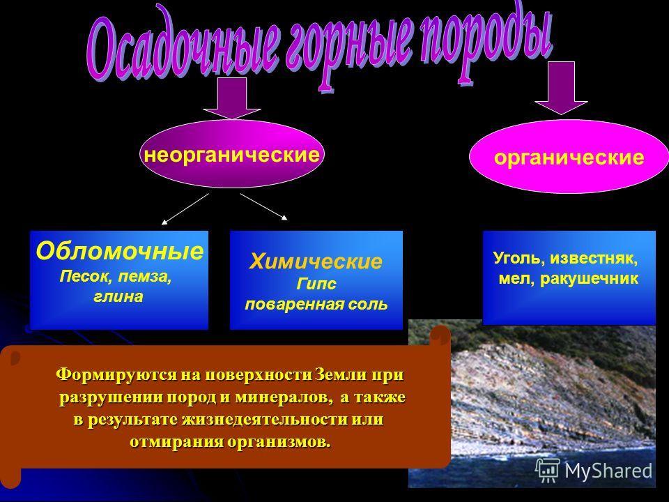неорганические органические Обломочные Песок, пемза, глина Химические Гипс поваренная соль Формируются на поверхности Земли при разрушении пород и минералов, а также разрушении пород и минералов, а также в результате жизнедеятельности или отмирания о