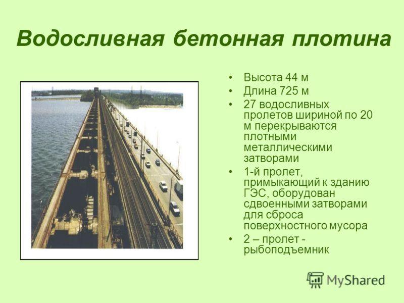 Водосливная бетонная плотина Высота 44 м Длина 725 м 27 водосливных пролетов шириной по 20 м перекрываются плотными металлическими затворами 1-й пролет, примыкающий к зданию ГЭС, оборудован сдвоенными затворами для сброса поверхностного мусора 2 – пр