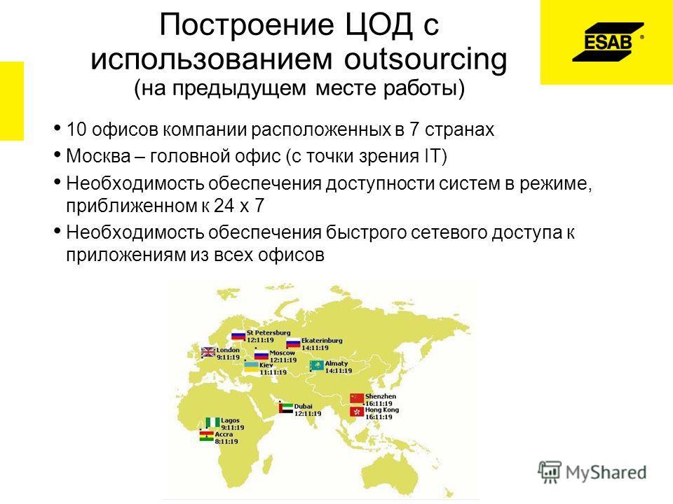 Построение ЦОД с использованием outsourcing (на предыдущем месте работы) 10 офисов компании расположенных в 7 странах Москва – головной офис (с точки зрения IT) Необходимость обеспечения доступности систем в режиме, приближенном к 24 x 7 Необходимост