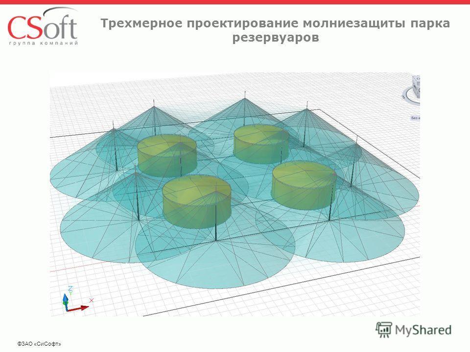 ©ЗАО «СиСофт» Трехмерное проектирование молниезащиты парка резервуаров