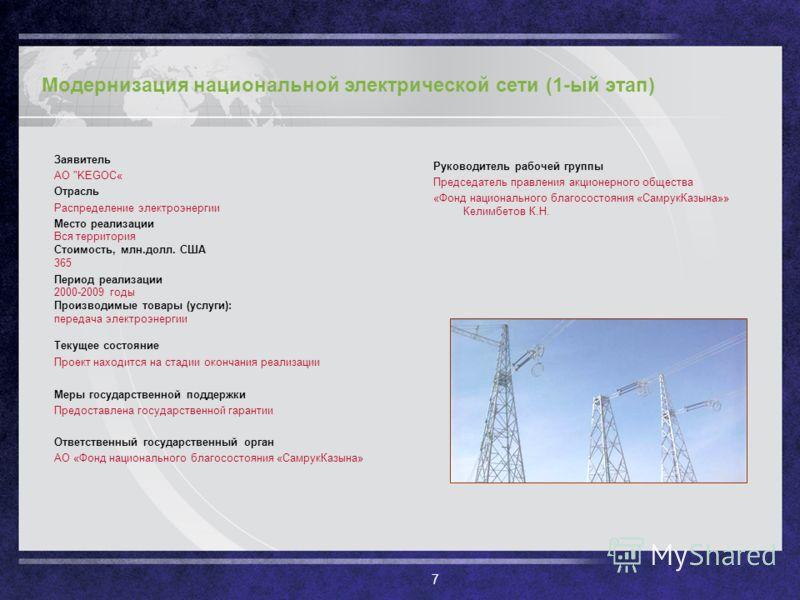 7 Модернизация национальной электрической сети (1-ый этап) Заявитель АО