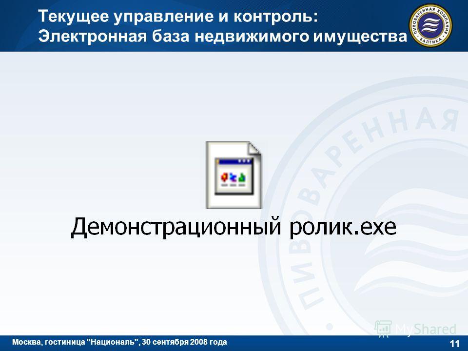 11 Москва, гостиница Националь, 30 сентября 2008 года Текущее управление и контроль: Электронная база недвижимого имущества