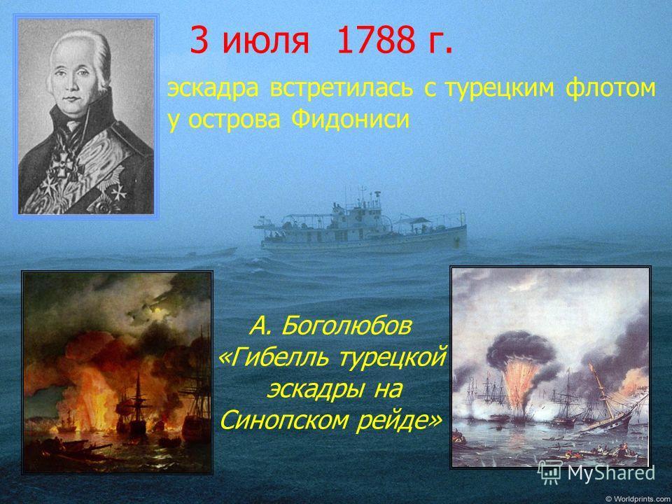 3 июля 1788 г. А. Боголюбов «Гибелль турецкой эскадры на Синопском рейде» эскадра встретилась с турецким флотом у острова Фидониси