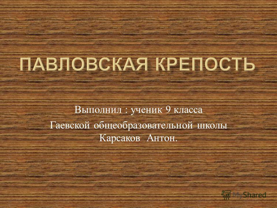 Выполнил : ученик 9 класса Гаевской общеобразовательной школы Карсаков Антон.