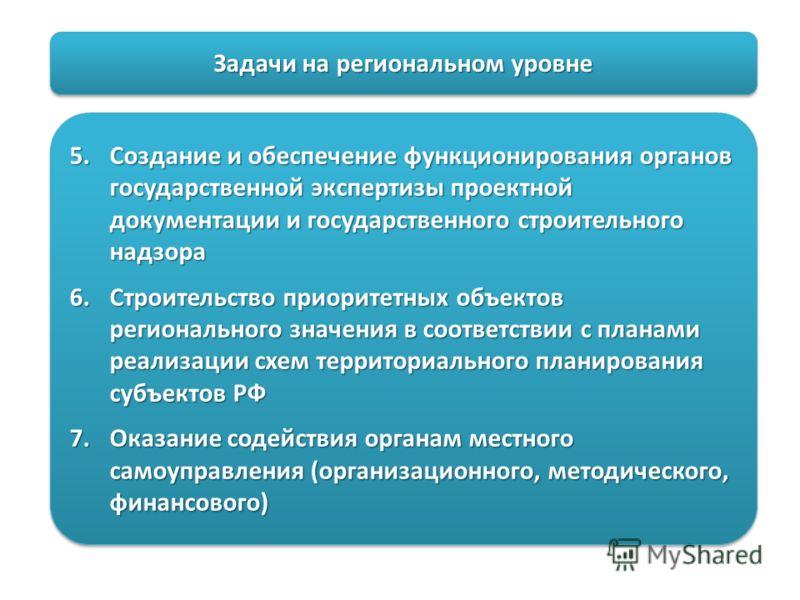 Задачи на региональном уровне 5.Создание и обеспечение функционирования органов государственной экспертизы проектной документации и государственного строительного надзора 6.Строительство приоритетных объектов регионального значения в соответствии с п