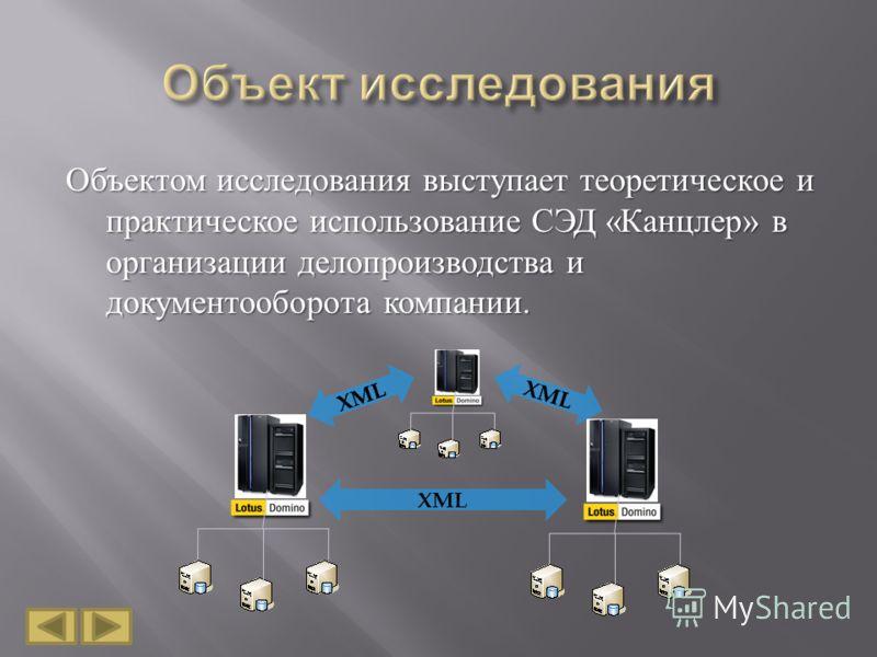 Объектом исследования выступает теоретическое и практическое использование СЭД « Канцлер » в организации делопроизводства и документооборота компании. XML