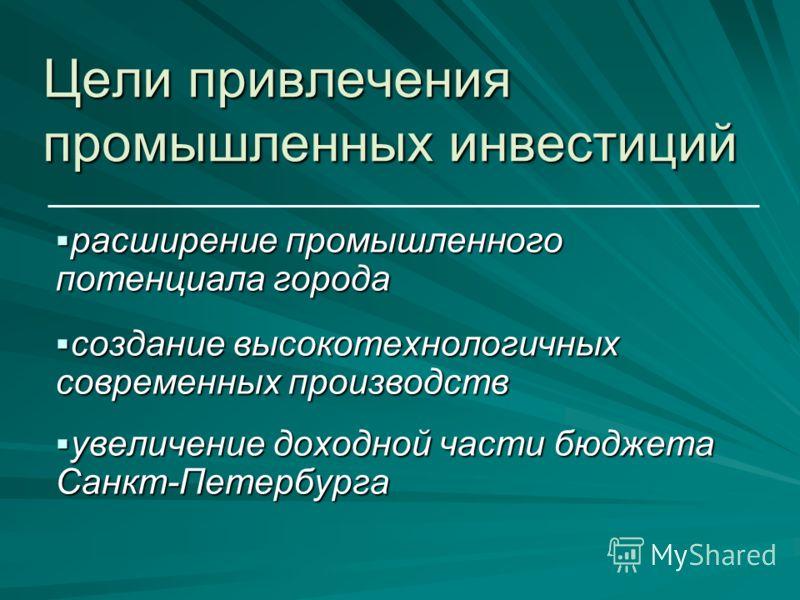 расширение промышленного потенциала города расширение промышленного потенциала города создание высокотехнологичных современных производств создание высокотехнологичных современных производств увеличение доходной части бюджета Санкт-Петербурга увеличе