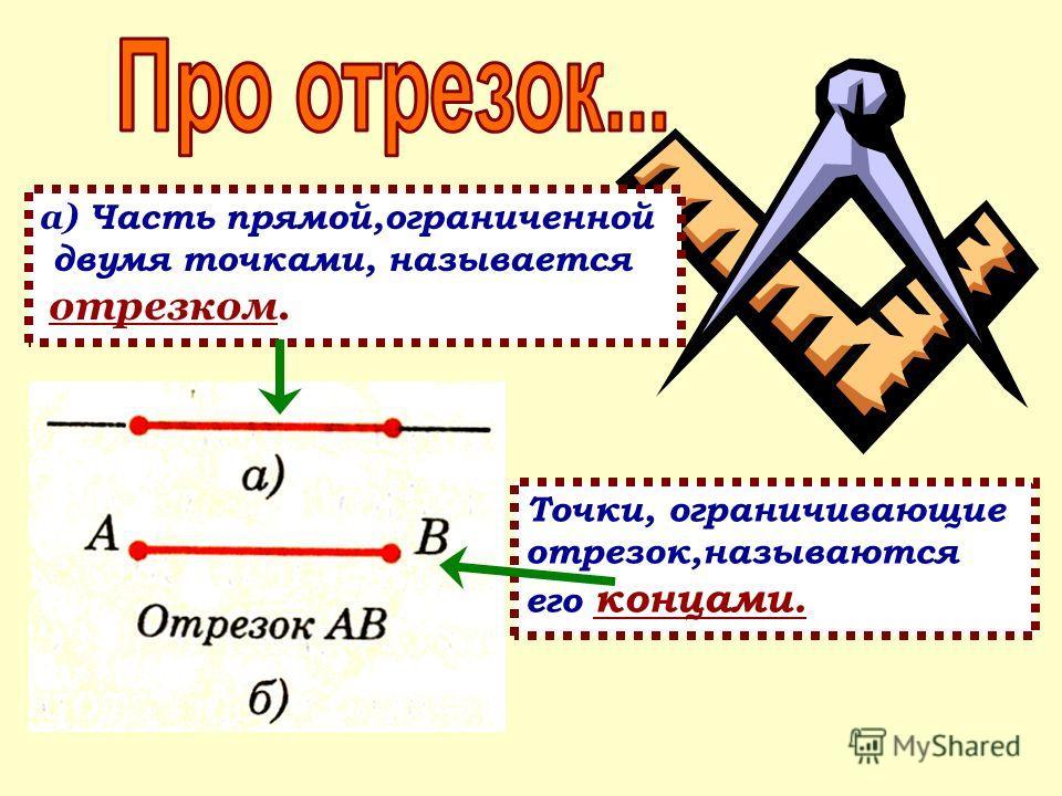 а) Часть прямой,ограниченной двумя точками, называется отрезком. Точки, ограничивающие отрезок,называются его концами.