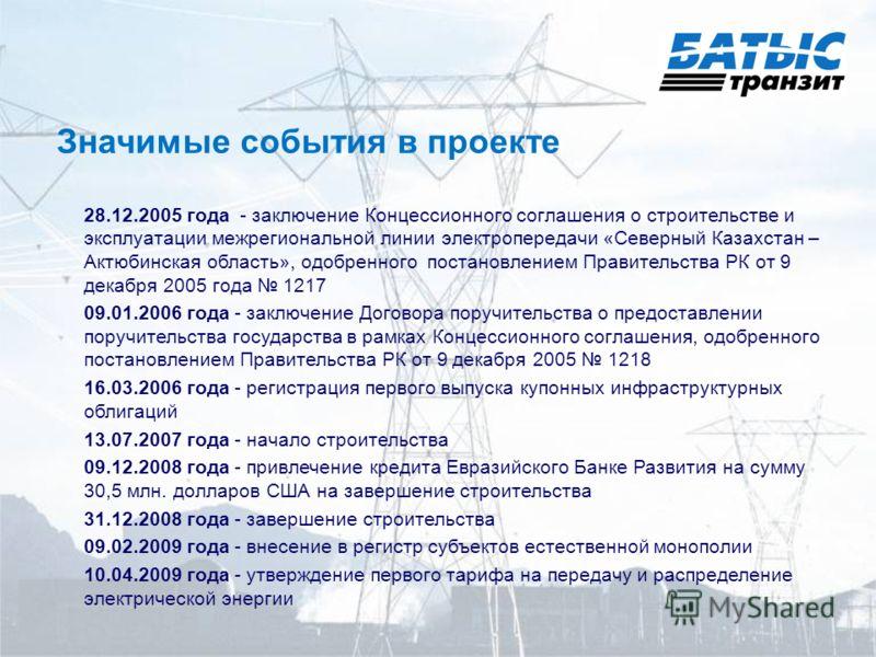 Значимые события в проекте 28.12.2005 года - заключение Концессионного соглашения о строительстве и эксплуатации межрегиональной линии электропередачи «Северный Казахстан – Актюбинская область», одобренного постановлением Правительства РК от 9 декабр