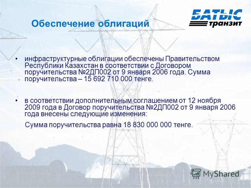 Обеспечение облигаций инфраструктурные облигации обеспечены Правительством Республики Казахстан в соответствии с Договором поручительства 2ДП002 от 9 января 2006 года. Сумма поручительства – 15 692 710 000 тенге. в соответствии дополнительным соглаше