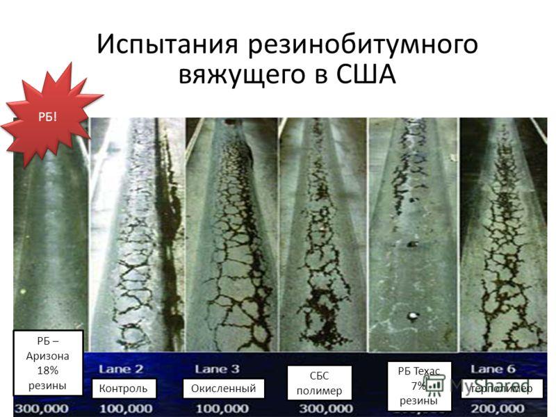 Испытания резинобитумного вяжущего в США РБ! РБ – Аризона 18% резины КонтрольОкисленный СБС полимер РБ Техас 7% резины терполимер