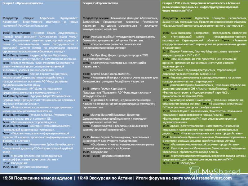 Секция 1 «Промышленность» Модератор секции: Абдибеков Нурмухамбет Канапиевич, Вице-Министр индустрии и новых технологий Республики Казахстан 14:00 Выступление: Кизатов Ермек Ануарбекович, Первый Вице-Президент АО