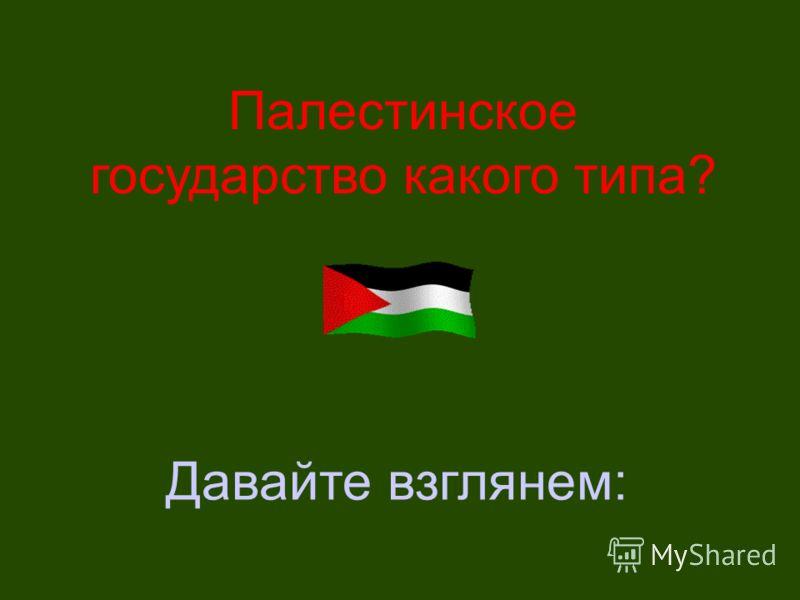 Палестинское государство какого типа? Давайте взглянем: