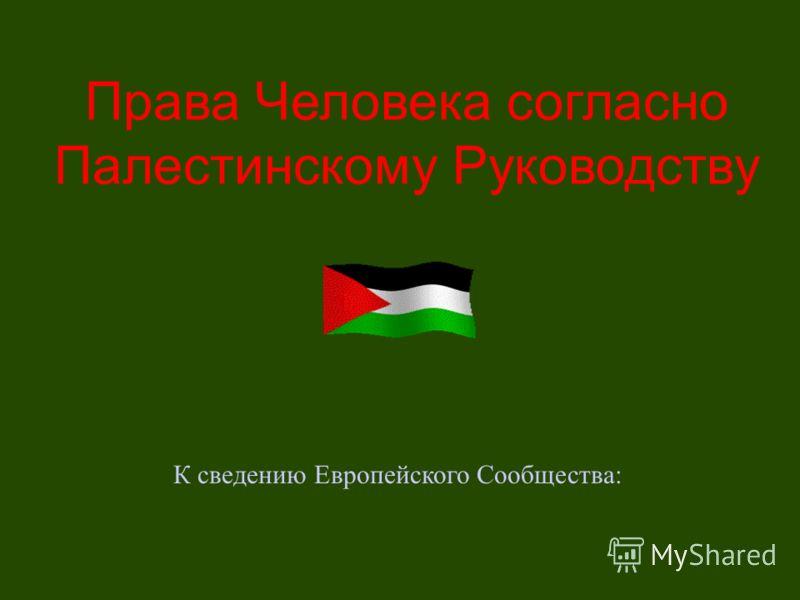 Права Человека согласно Палестинскому Руководству К сведению Европейского Сообщества: