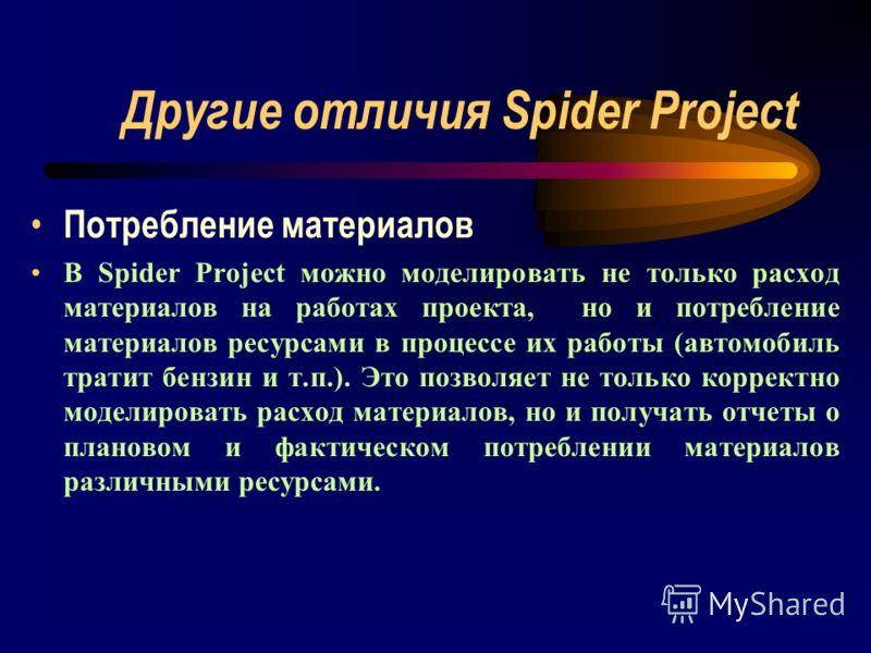Другие отличия Spider Project Потребление материалов В Spider Project можно моделировать не только расход материалов на работах проекта, но и потребление материалов ресурсами в процессе их работы (автомобиль тратит бензин и т.п.). Это позволяет не то