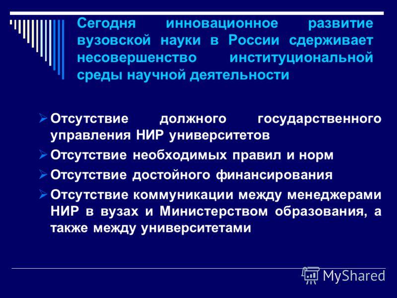 Сегодня инновационное развитие вузовской науки в России сдерживает несовершенство институциональной среды научной деятельности Отсутствие должного государственного управления НИР университетов Отсутствие необходимых правил и норм Отсутствие достойног
