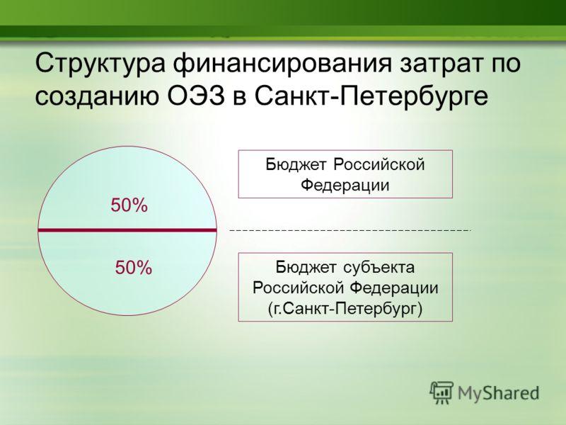 Структура финансирования затрат по созданию ОЭЗ в Санкт-Петербурге Бюджет субъекта Российской Федерации (г.Санкт-Петербург) Бюджет Российской Федерации 50%