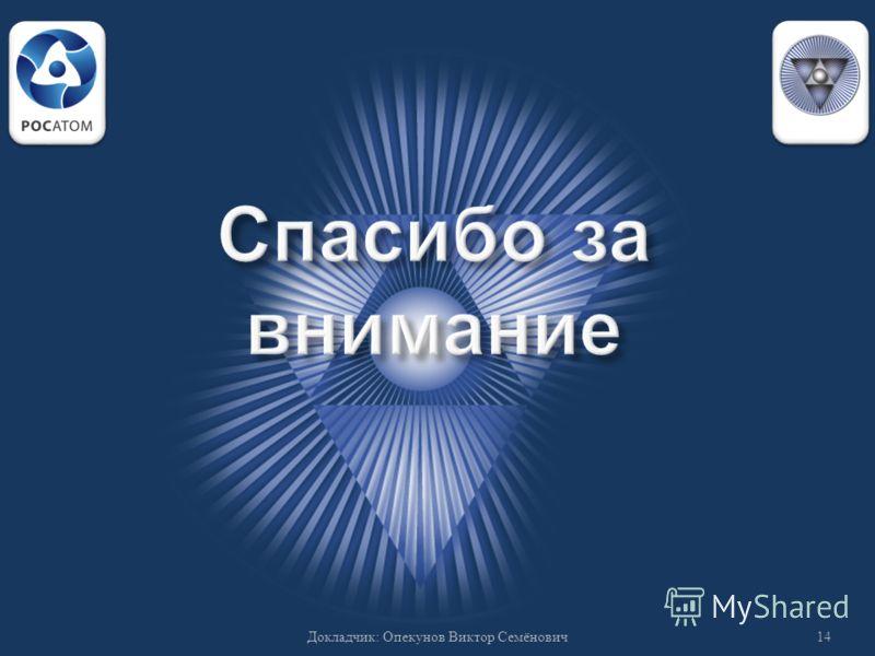 14 Докладчик : Опекунов Виктор Семёнович
