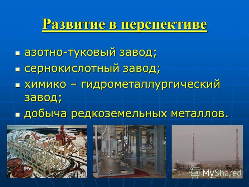 Развитие в перспективе азотно-туковый завод; азотно-туковый завод; сернокислотный завод; сернокислотный завод; химико – гидрометаллургический завод; химико – гидрометаллургический завод; добыча редкоземельных металлов. добыча редкоземельных металлов.