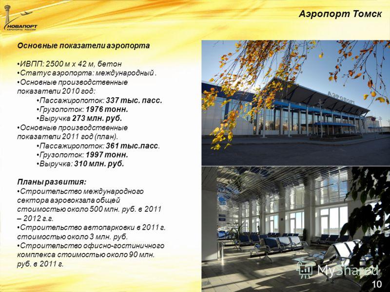 10 Аэропорт Томск Основные показатели аэропорта ИВПП: 2500 м x 42 м, бетон Статус аэропорта: международный. Основные производственные показатели 2010 год: Пассажиропоток: 337 тыс. пасс. Грузопоток: 1976 тонн. Выручка 273 млн. руб. Основные производст