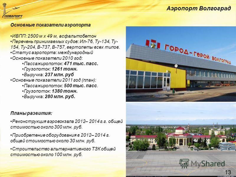 Аэропорт Волгоград 13 Основные показатели аэропорта ИВПП: 2500 м x 49 м, асфальтобетон Перечень принимаемых судов: Ил-76, Ту-134, Ту- 154, Ту-204, B-737, B-757, вертолеты всех типов. Статус аэропорта: международный Основные показатели 2010 год: Пасса
