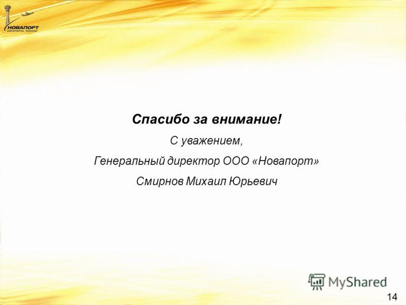14 Спасибо за внимание! С уважением, Генеральный директор ООО «Новапорт» Смирнов Михаил Юрьевич