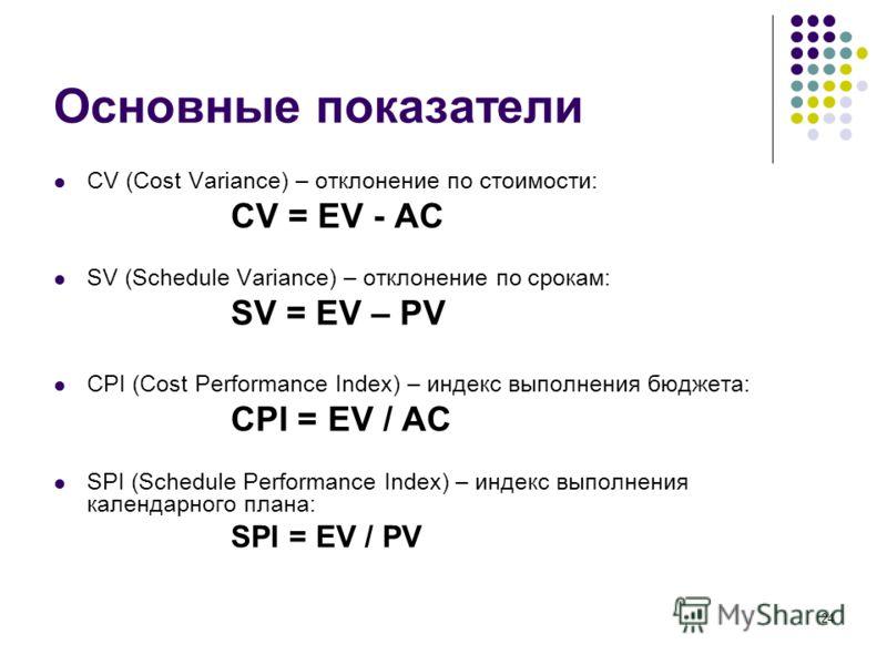 24 Основные показатели CV (Cost Variance) – отклонение по стоимости: CV = EV - AC SV (Schedule Variance) – отклонение по срокам: SV = EV – PV CPI (Cost Performance Index) – индекс выполнения бюджета: CPI = EV / AC SPI (Schedule Performance Index) – и