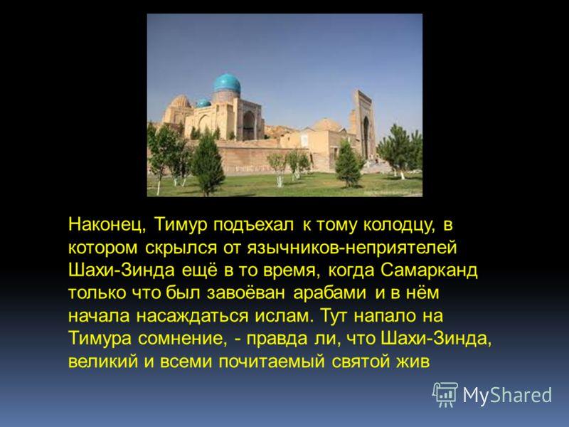 Наконец, Тимур подъехал к тому колодцу, в котором скрылся от язычников-неприятелей Шахи-Зинда ещё в то время, когда Самарканд только что был завоёван арабами и в нём начала насаждаться ислам. Тут напало на Тимура сомнение, - правда ли, что Шахи-Зинда
