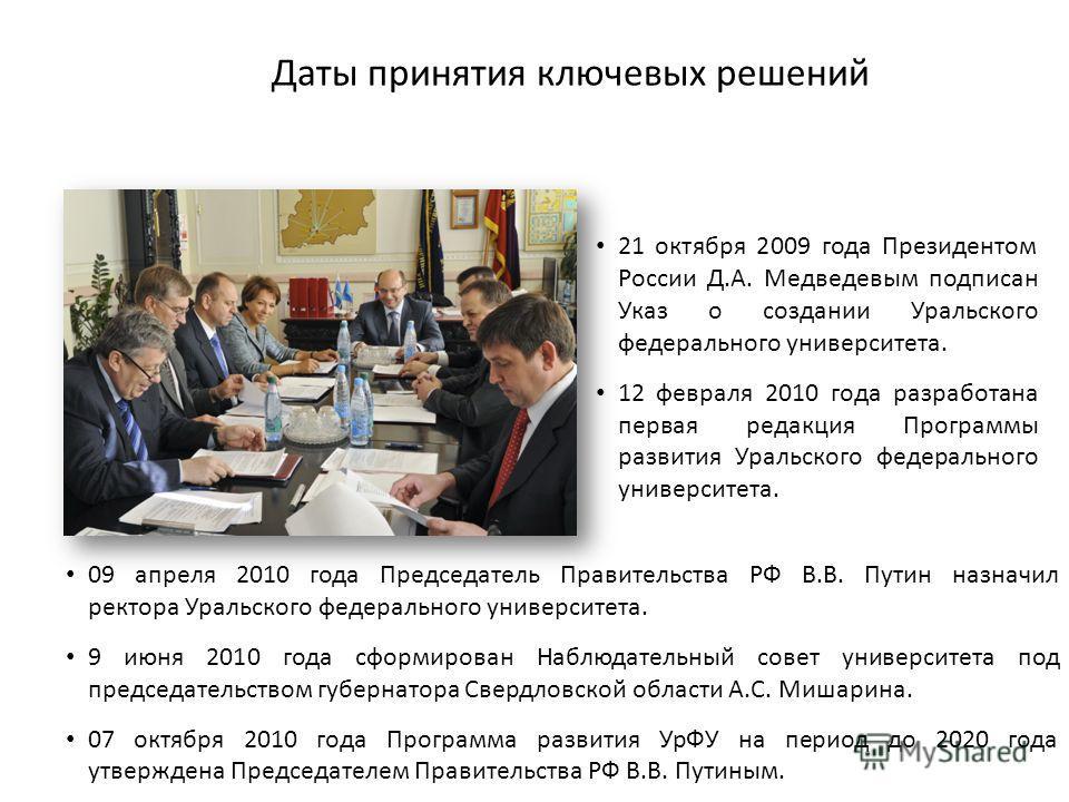 Даты принятия ключевых решений 2 21 октября 2009 года Президентом России Д.А. Медведевым подписан Указ о создании Уральского федерального университета. 12 февраля 2010 года разработана первая редакция Программы развития Уральского федерального универ