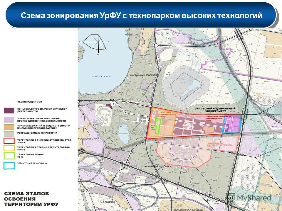 Сзема зонирования УрФУ с технопарком высоких технологий